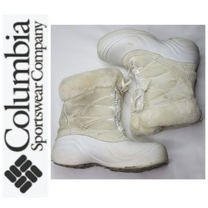 4/$25 Columbia Snow Boots White Tan Lace Up Winter